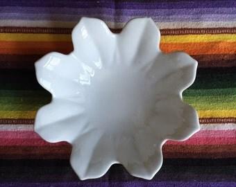 vintage unique ceramic white lotus flower bowl