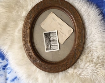 vintage rustic wooden oval etched carved picture frame