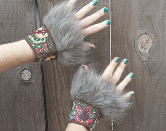 Faux Fur Cuffs, Paisley Brown, Boho, Costume, Burning man, Festival, Hipster, Rave, Performance, EDM, Cosplay, Handmade by Sandalamoon