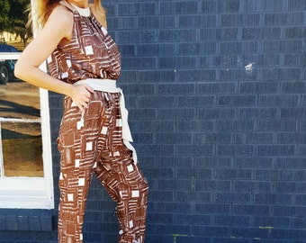 tribal 1970s hippie hipster bohemian jumpsuit catsuit brown and white disco festival jumper unitard funky textile open back backless suit