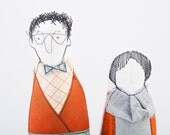 Grandparents soft sculpture dolls - men in glasses plaid shirt Papillon azure corduroy lady in skirt dotted gold gray shirt & orange jacket