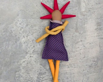 Stocking stuffer ,Modern rag doll ,doll with cool Bourdeaux spikes haircut ,Dressed in shades of navy blue & mustard. timohandmade eco doll