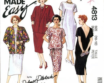 McCall's 4813 Sewing Pattern by Palmer Pletsch for Misses' Cocoon Dress and Jacket - Uncut - Size Small 10-12