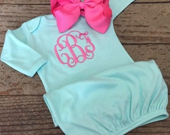 Monogrammed gown with matching bow, personalized baby gown, coming home outfit, monogram, newborn pictures, baby, custom