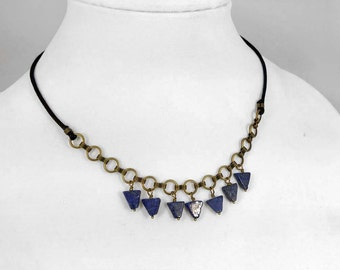 Lapis Lazuli Gemstone Triangle Necklace on Antiqued Brass and Black Waxed Cotton Cord 1024