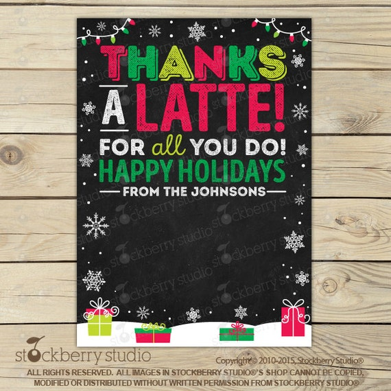 This is a photo of Punchy Thanks a Latte Christmas Printable