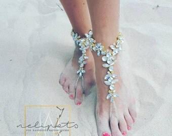 Beach Wedding Barefoot SandalS,Bridal Swarovski Crystal Shoes,Boho Slave Anklet,Wedding Anklet,Bridesmaid Accessories,KAMINI design