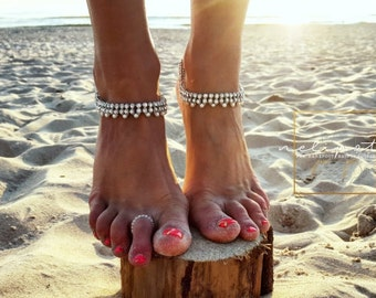 Wedding Barefoot Anklet/Bridal Foot Jewelry/Pearl Anklet/Beach Wedding/Barefoot Sandals/Beaded Anklet/Bridal Shower/Foot Jewelry/REI design