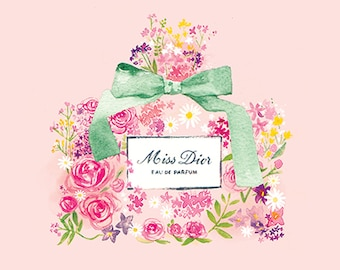 Miss Dior Perfume, Floral watercolour illustration, 21 x21 cm Print
