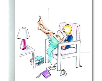 Bookworm, Greeting Card, Blonde, Fashionista, Reading, Blue, Aqua, Book Lover, Girl Reading, Book, Striped Chair, Gifts for Her, Lazy Days