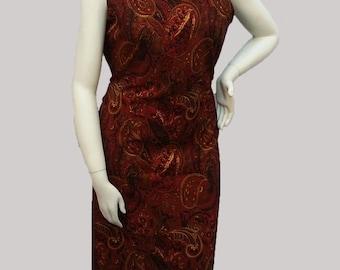 Sleeveless summer dress- maroon paisley print (size L; US 10)