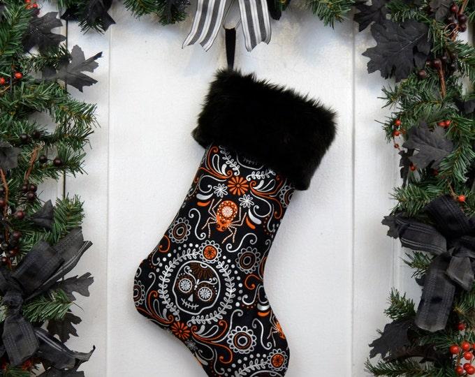 Day of the Dead Christmas Stocking Silver Metallic & Orange Halloween Sugar Skulls
