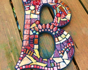 """LARGER CUSTOM Mosaic Initials/Letters - Your Color Choice - These are in Shades of Burgundy, Reds, Tans, Brown & Yellow - 12"""" Tall  -  OOAK!"""