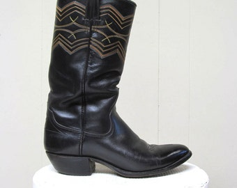 Vintage Western Boots / Black Leather Cowboy Boots / Mens 9D US
