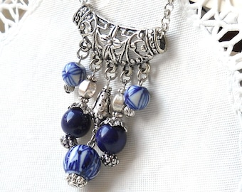 delft necklace delft blue necklace blue necklace blue and white necklace delft blue style necklace delft blue jewelry