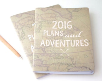 Plans And Adventures Notebook | A5 Handmade Journal | World Map | Stationery | Gift