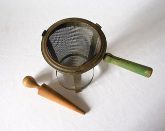Antique Rustic Metal Cone Strainer with Wood Pestle