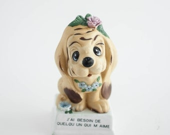 Vintage Kitsch Dog Figurine 1970s Cute Romantic French Phrase Home Decor Dog Gift