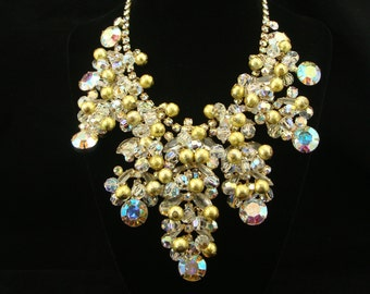 Massive Juliana Necklace, Delizza and Elster, Rhinestone Necklace, Crystal Necklace, Estate Jewelry, AB Rhinestone, Bib Necklace, Gold Beads