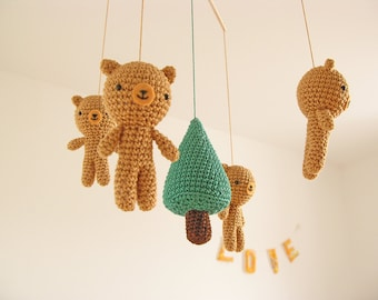 Bear Baby Mobile, Crochet Teddy Bear Nursery Decor, Wild Animal Woodland Forest Mobile