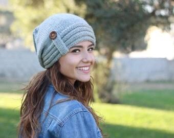 Grey Slouch hat, Women grey hat, Grey knit hat, Grey women hat, Grey slouch beanie, Grey winter hat, Grey wool hat, Grey hat slouchy