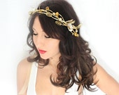 SALE 25 Holiday Headband, gold, New Years Eve, miseltoe, Christmas, Winter Headpiece, Holiday accessory, christmas Wedding,