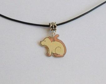 Fancy Rat Necklace Cream Pet Rat Mouse Pendant