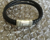 Unisex Black Leather Bracelet