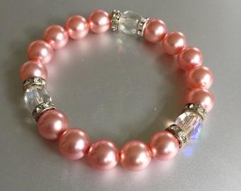 Pink Pearl and Swarovski Crystal Bracelet