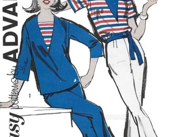 Advance 2825 Women's 60s Sports Separates Sewing Pattern Middy & Bell Bottom Pants Dickey Size 14 Bust 34