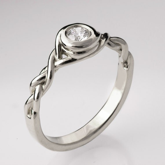 braided engagement ring no 5 14k white gold and
