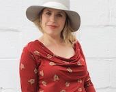 SALE fox print stretch cowl neck long sleeved shirt