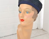 1950s Navy Straw and Grosgrain Hat