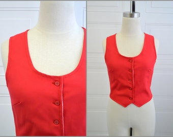 1960s Red Vest with Printed Lining