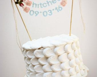 Hitched Wedding Cake Banner - Wedding Cake Topper - Hitched Cake Banner - Wedding Cake Topper: Blue Mint w/ Blush Blooms