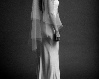 Bridal, Veil, Wedding, Fingertip Veil, with Blusher, circle veil