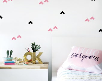 Kids Wall Decal, Removable, Eco Friendly Wall Decal, Self-adhesive, Pink, Black, Geometric, Wall Sticker, Pattern. Boomerang Wall Decal