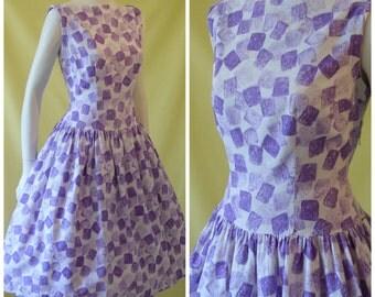 1950s Sun Dress / 50s Day Dress / Purple on White Print Waffle Cotton / Drop Waist / Full Skirt / Audrey Hepburn Neckline / M Medium