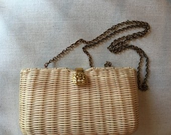 Items Similar To Vintage Rodo Cream Wicker Clutch Bag Made