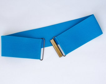 Cerulean blue elastic waist belt for women, belt available in regular and plus sizes