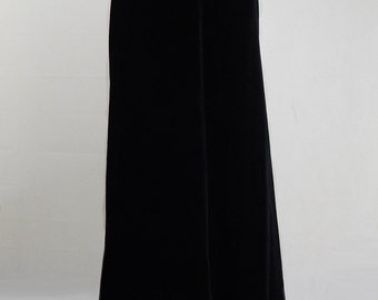 Original Vintage 1970s Black Velvet Maxi Skirt UK Size 6/8