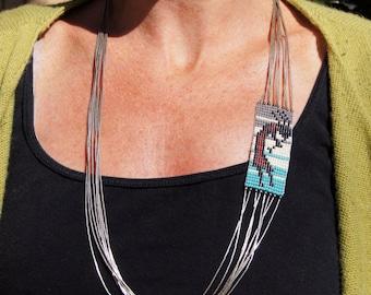 Kokopelli Southwest Beaded Liquid Silver Necklace