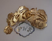 Hair Clip! Hair Jewelry! Signed Ultra Craft! Gold Plated With Foil Finish! 4 Sizes Of Gold Plated Roses! Unique Hair Clip! Ships Free! Sale!