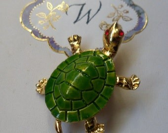 Green Turtle! Tortoise Pin! Green Enamel Shell! Gold Plated Turtle Brooch The Eyes Are Red Swarovski Crystals! Very Sweet Pin Sale + 15% Off