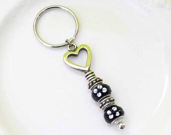 Heart Glass Bead Keychain, Heart Keychain, Glass Bead Keychain, Charm Keychain, Floral Keychain, Lampwork Black and White Bead Keychain