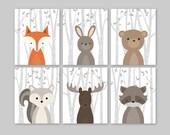 Baby Boy Nursery Art, Woodland Nursery Animals, Baby Room Decor, Forest Animal Prints, Set of 6 Fox Rabbit Bear Squirrel Moose Raccoon