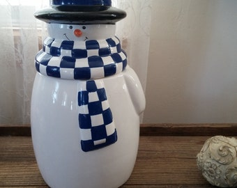 Colorful Ceramic Christmas Snowman Cookie Jar - Houston Harvest Gifts - Musical
