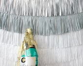 New Years Eve Backdrop Fringe Curtain, Silver and Gold Photo booth backdrop, New Years Eve Party Decorations, Buffet Table Skirt