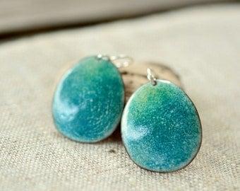 Teal enamel earrings - big dangle pebble shaped earrings - sterling silver earwire - artisan jewelry by Alery