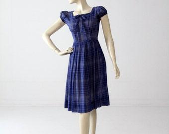 1950s day dress by Sandra Lee, blue cotton sundress small